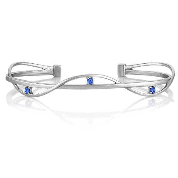 Kentucky Blue Sapphire and Sterling Silver Bangle Cuff Bracelet (7 in) image