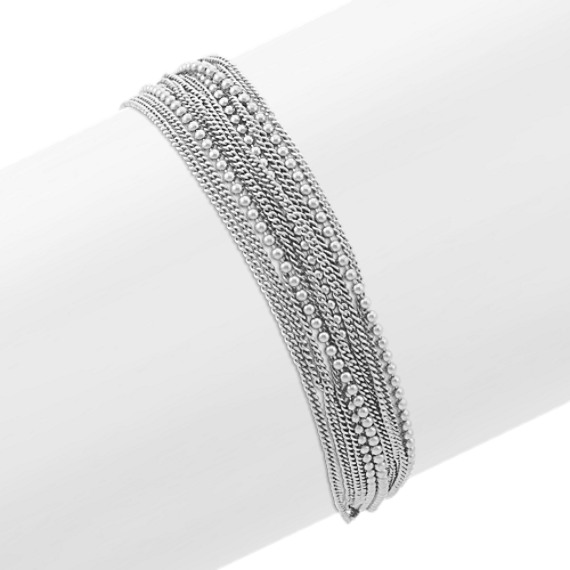 Layered Chain Bracelet in Sterling Silver (7.5 in)