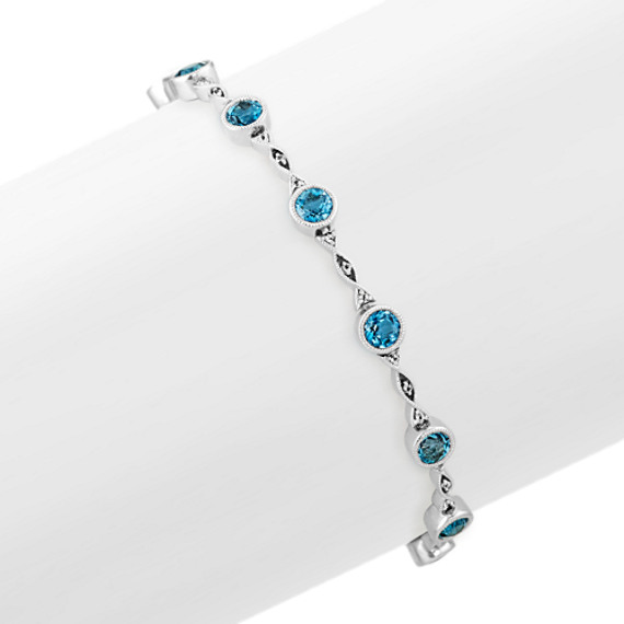London Blue Topaz and White Sapphire Bracelet (7.5 in)