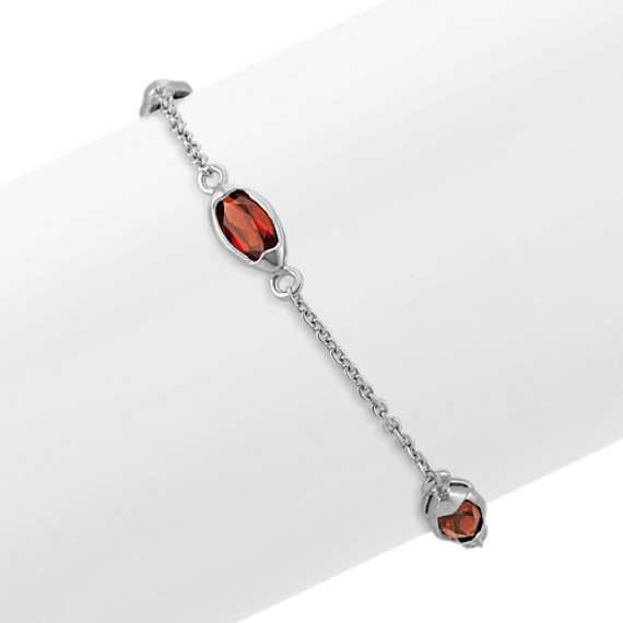 Marquise Garnet and Sterling Silver Bracelet (7.5 in)