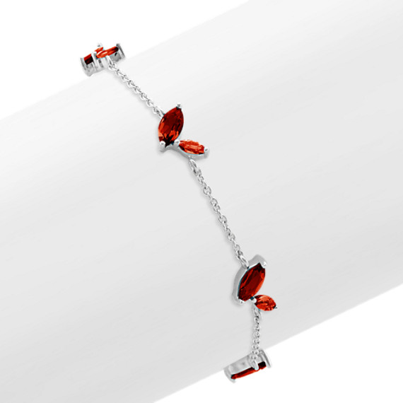 Marquise Red Garnet Bracelet (7.5 in)