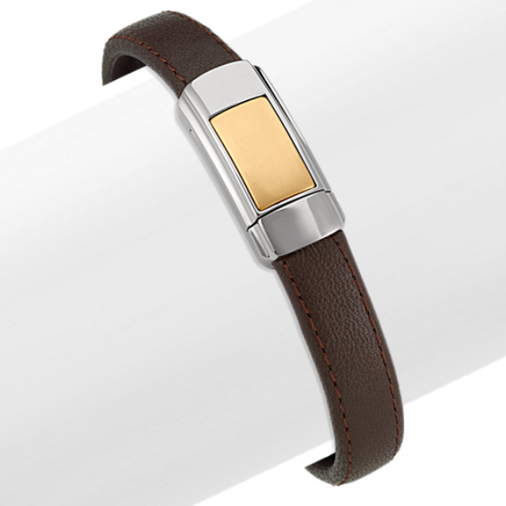 Men's Leather Bracelet with Stainless Steel and Copper Accent (8.5 in)