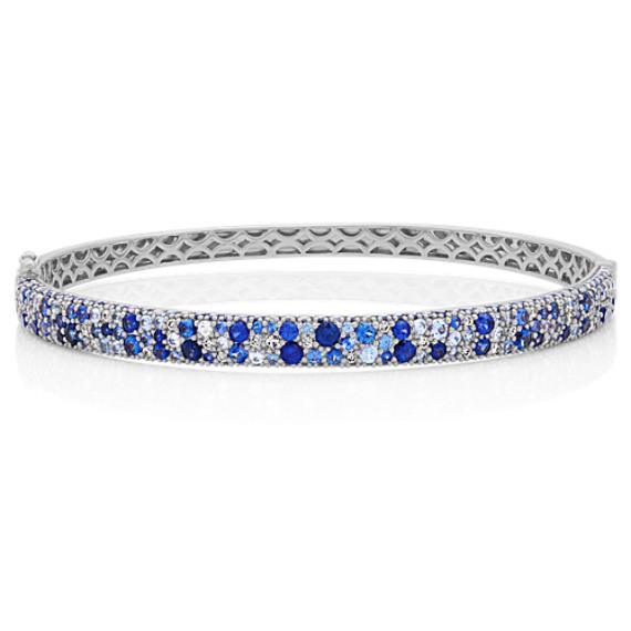 Mosaic Blue Sapphire and Diamond Bracelet (7 in)
