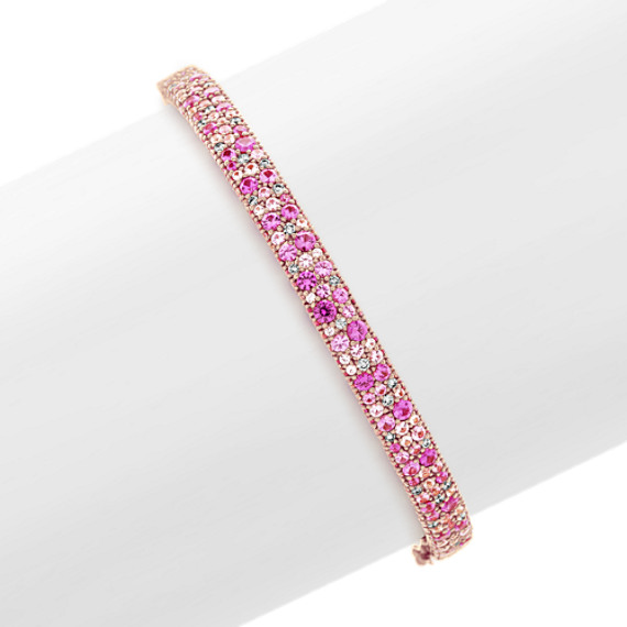 Mosaic Pink Sapphire and Diamond Bangle Bracelet (7 in)