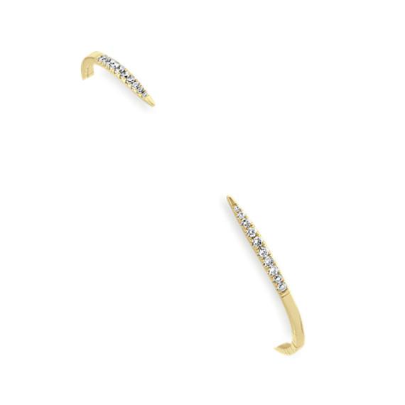 Open Diamond Bangle Bracelet in 14k Yellow Gold (7 in)