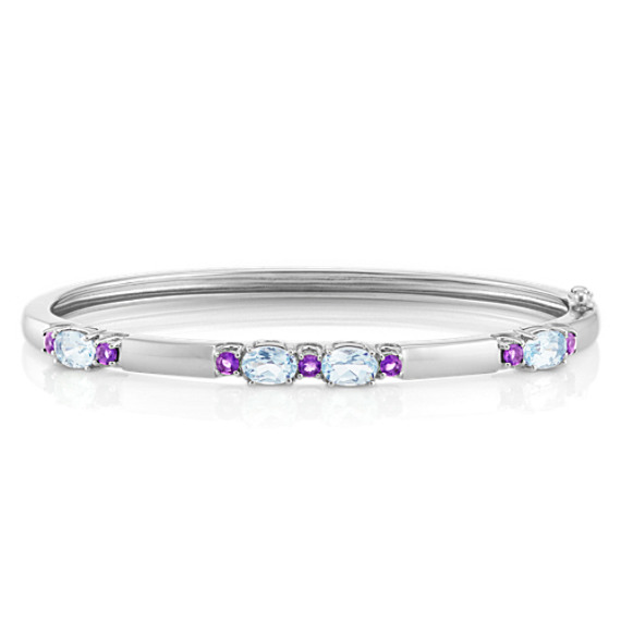 Oval Aquamarine and Round Amethyst Sterling Silver Bangle Bracelet (7 in) image