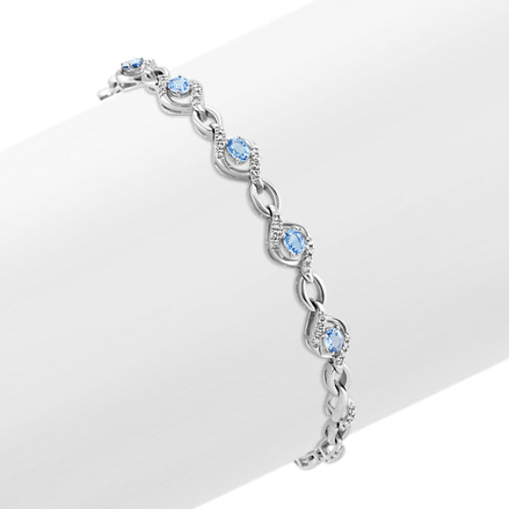 Oval Ice Blue Sapphire and Round Diamond Bracelet (7 in)