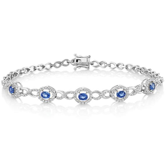 Oval Kentucky Blue Sapphire and Round Diamond Bracelet (7.5 in)