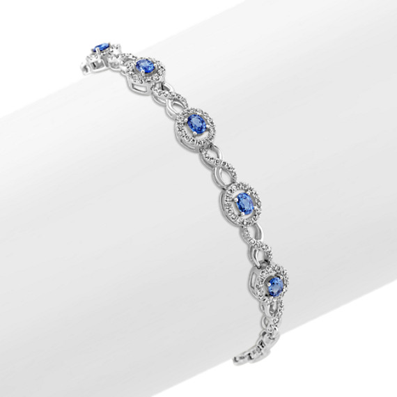 Oval Kentucky Blue Sapphire and Round Diamond Bracelet (7.5 in)