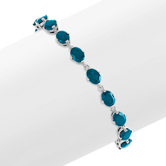 Oval London Blue Topaz Bracelet in Sterling Silver (7.5 in)