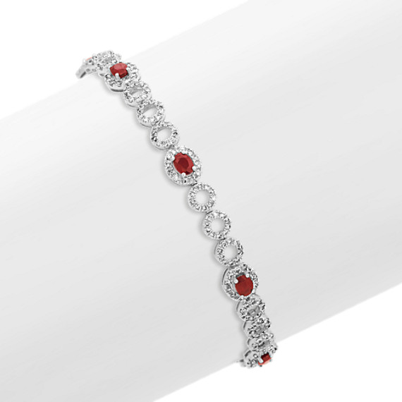 Oval Ruby and Round Diamond Bracelet (7 in)