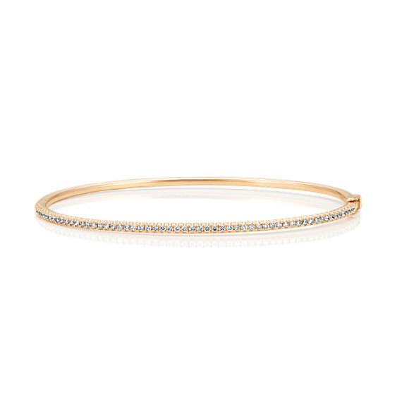 Pave-Set Diamond Bangle Bracelet in 14k Yellow Gold