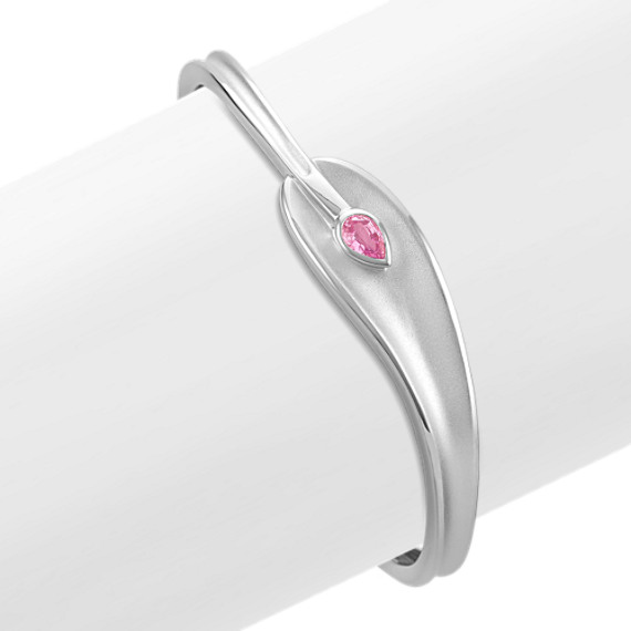 Pear-Shape Pink Sapphire and Sterling Silver Bangle Bracelet (7 in)