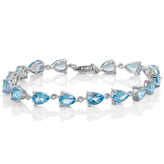 Pear-Shaped Sky Blue Topaz Bracelet (7.5 in)