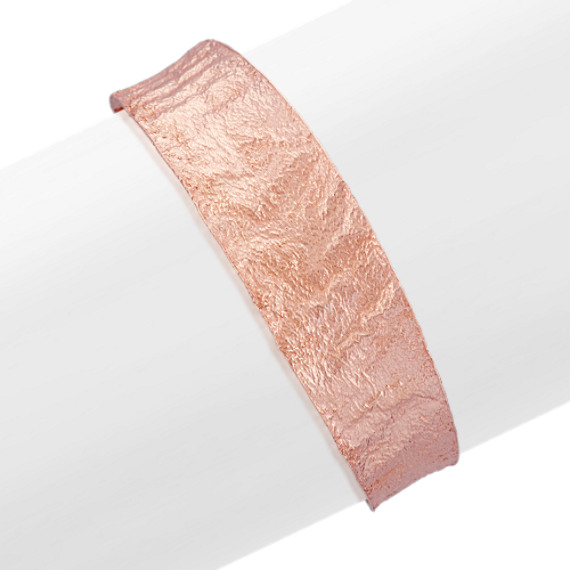 Rose Plated Sterling Silver Textured Cuff Bracelet (7.5 in)
