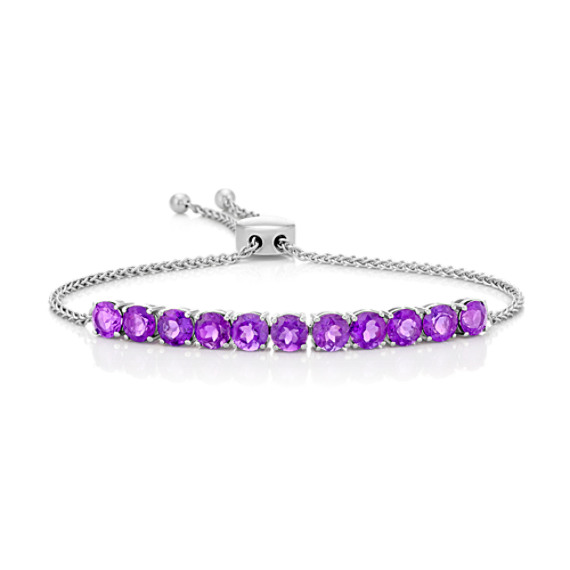 Round Amethyst Bolo Bracelet in Sterling Silver (9 in) image