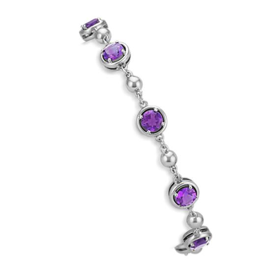 Round Amethyst Bracelet in Sterling Silver (7.5 in)