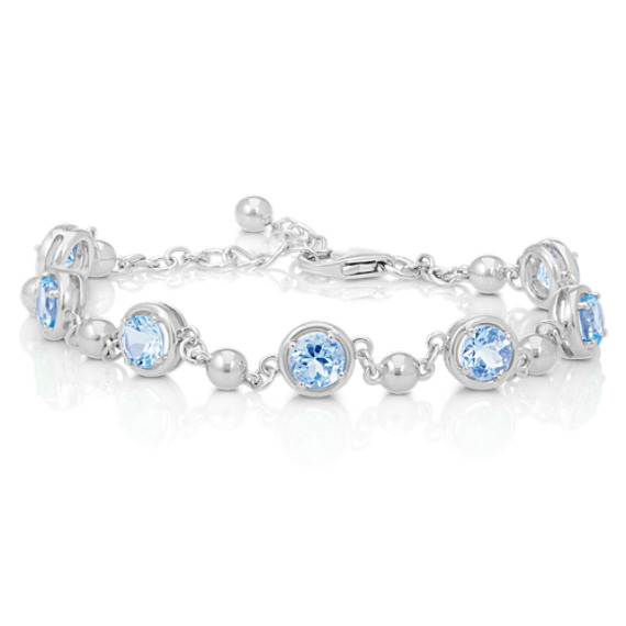Round Aquamarine and Sterling Silver Bracelet (7 in) image