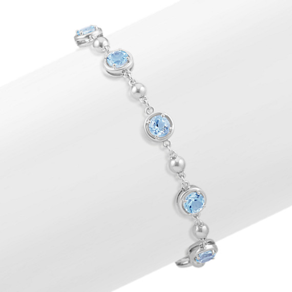 Round Aquamarine and Sterling Silver Bracelet (7 in)