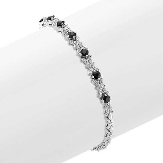 Round Black Sapphire and Diamond Bracelet in 14k White Gold (7 in)