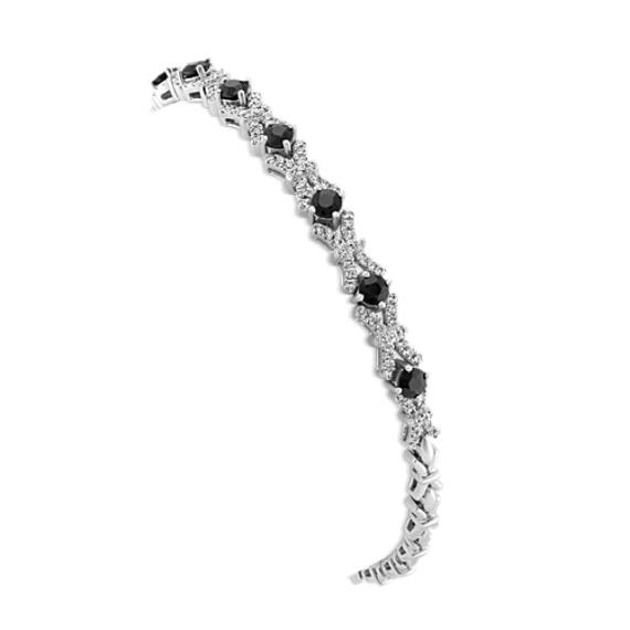 Round Black Sapphire And Diamond Bracelet In 14k White Gold 7 In