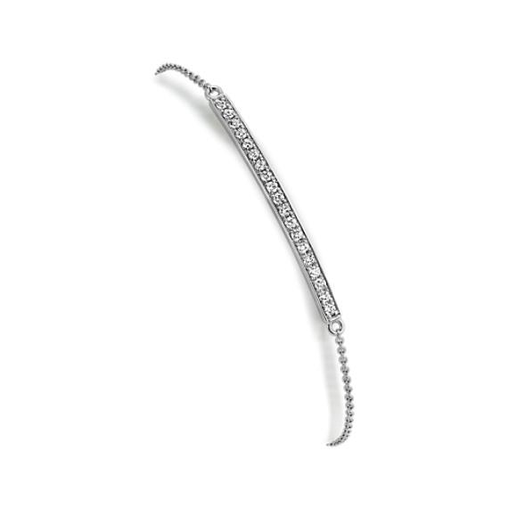 Round Diamond Bar Bracelet in 14k White Gold (7 in)