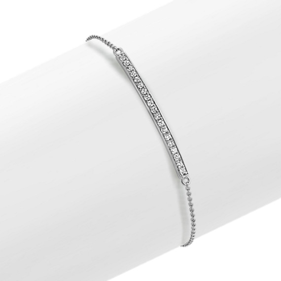 Round Diamond Bar Bracelet In 14k White Gold 7
