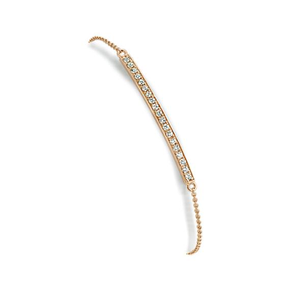 Round Diamond Bar Bracelet in 14k Yellow Gold (7 in)