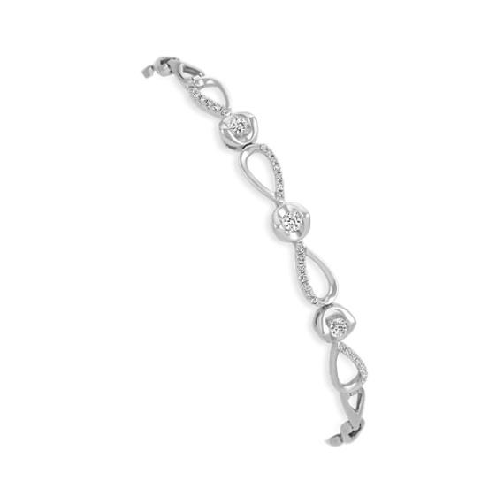 Round Diamond Bracelet in 14k White Gold (7 in)