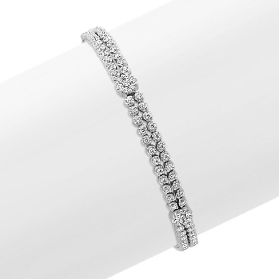 Round Diamond Double Row Bracelet (7 in)