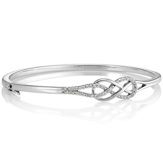 Round Diamond Infinity and Swirl Bangle Bracelet (7.5 in) image
