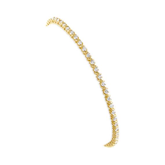 Round Diamond S Link Tennis Bracelet in 14k Yellow Gold (7 in)
