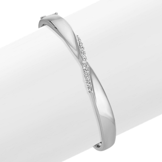 Round Diamond Swirl Bangle Bracelet (7.5 in)
