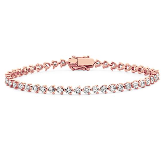 Round Diamond Tennis Bracelet in 14k Rose Gold (7 in)