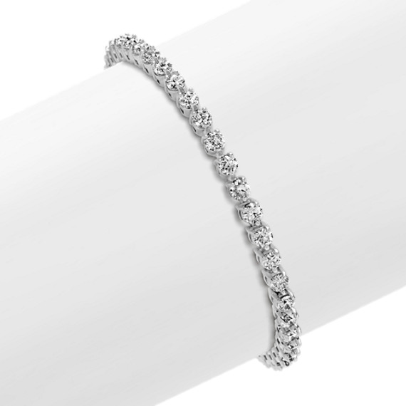 Round Diamond Tennis Bracelet with Butterfly Clasp (7 in)