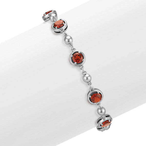 Round Garnet Bracelet in Sterling Silver (7.5 in)