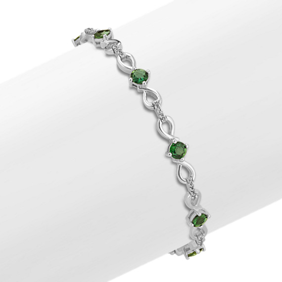 Round Green Sapphire and Round Diamond Infinity Bracelet (7 in)