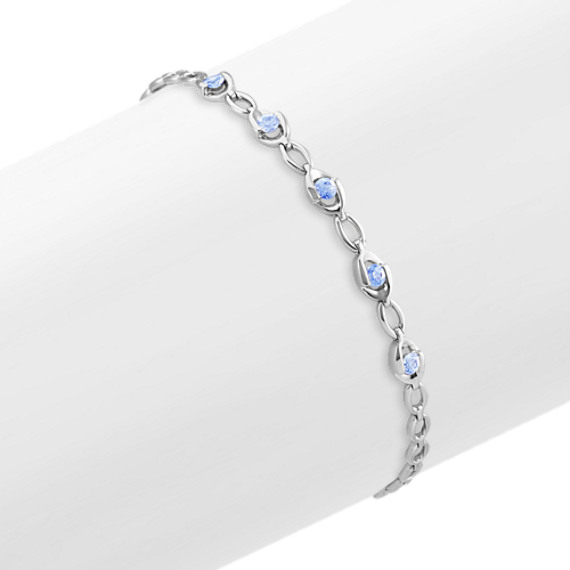 Round Ice Blue Sapphire Link Bracelet (7 in)