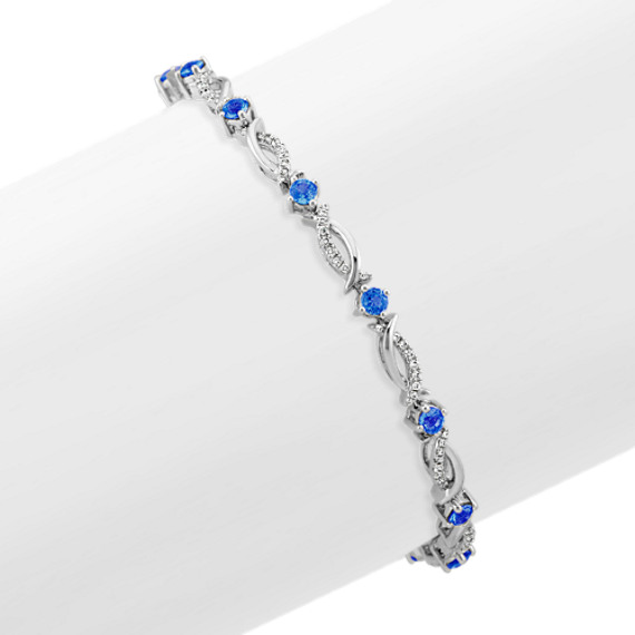 Round Kentucky Blue Sapphire and Diamond Bracelet (7 in)