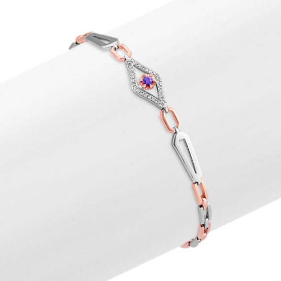 Round Lavender Sapphire and Diamond Bracelet in White and Rose Gold