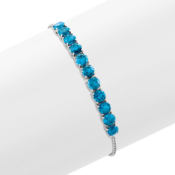 Round London Blue Topaz Bolo Bracelet in Sterling Silver (9 in)