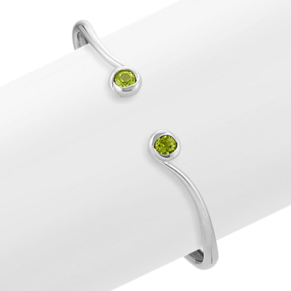 Round Peridot and Sterling Silver Bangle Bracelet (7 in)