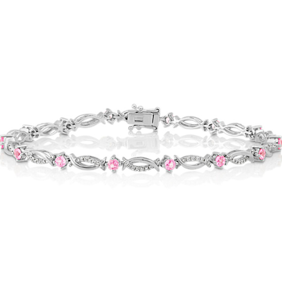 Round Pink Sapphire And Diamond Bracelet In 14k White Gold 7 25 In