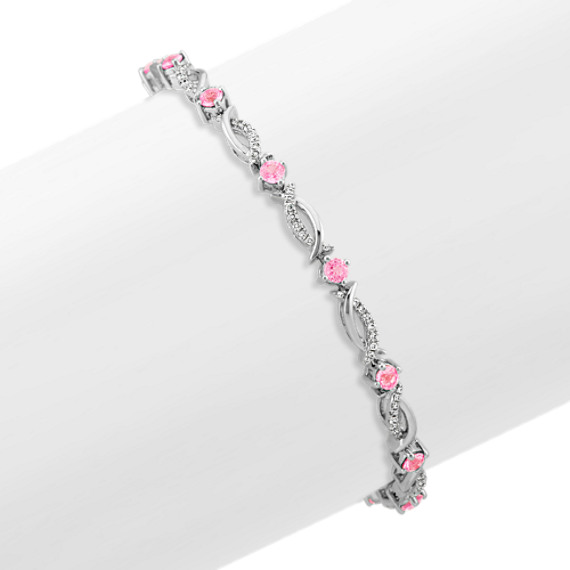 Round Pink Sapphire and Diamond Bracelet in 14k White Gold (7.25 in)