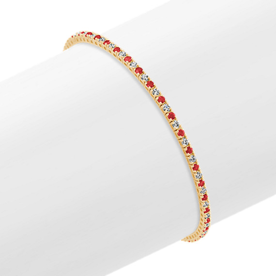 Round Ruby and Diamond 14k Yellow Gold Tennis Bracelet (7 in.)