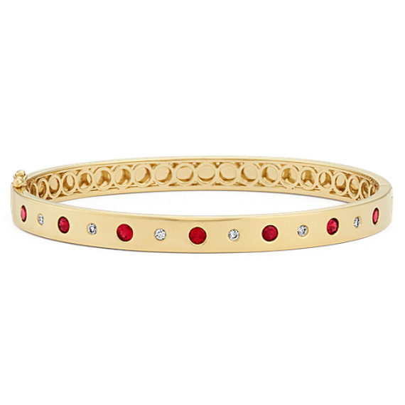 Round Ruby And Diamond Bangle Bracelet
