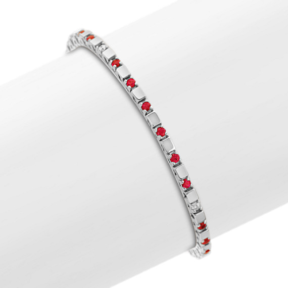 Round Ruby and Diamond Bracelet (7 in)