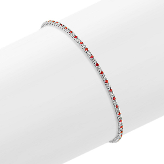 Round Ruby and Diamond Tennis Bracelet in 14k White Gold (7 in)