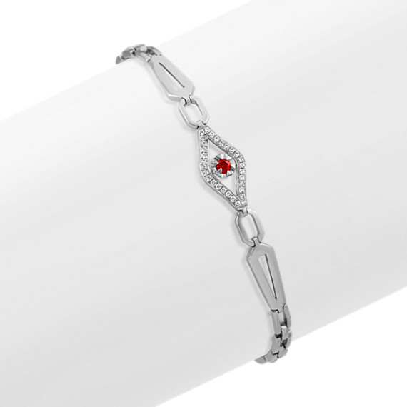 Round Ruby and Round Diamond Link Bracelet (7 in)