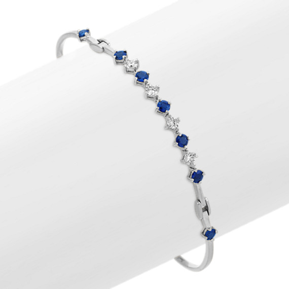 Round Sapphire and Diamond Bracelet (8 in)